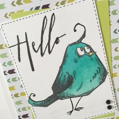 Hello Bird Handmade Card by HannahCherie on Etsy Bird, Unique Jewelry, Handmade Gifts, Etsy, Vintage, Kid Craft Gifts, Birds, Craft Gifts, Costume Jewelry