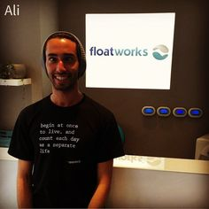 Meet the Floatworkers: Ali  What is your nickname: Alloush  How many times do you float per month: 4  Why do you love floating: in a very stimulating world we need to disconnect and give ourselves time to reflect  Hobbies: photography writing research  Favourite quote: forgiveness collapses time  Favourite book or film: The Hidden Messages in Water  Why do you love working here: relationships with people and experiencing their transformations  One word to describe Floatworks: REGENERATIVE