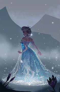 Disney Princess Elsa walking in starlit night Moana Disney, Frozen Disney, Disney Pixar, Walt Disney, Disney Fan Art, Disney Animation, Disney And Dreamworks, Disney Love, Disney Magic