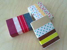 Streichholzschachteln als Geschenkverpackung mit Washi Tape. Auch auf dieser Seite: Tags mit Washi Tape