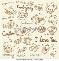 Tea cups and teapots sketchy doodles vector by Ohn Mar, via ShutterStock Doodle Drawings, Cartoon Drawings, Doodle Art, Doodle Coloring, Coloring Pages, Coloring Books, Tea Cup Drawing, Tea Design, Kawaii Doodles