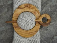 wooden scarf closures | Olive wood scarf pin