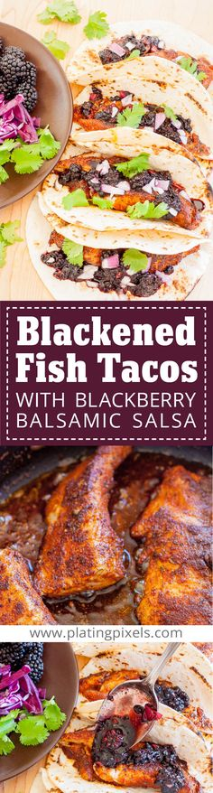 Blackened Fish Tacos with Blackberry Balsamic Salsa by Plating Pixels. Blackened seasoned Cobia fried fish tacos, and gluten-free. Topped with fresh sweet blackberry salsa, cabbage, and cilantro. - www.platingpixels.com