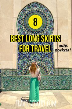 Check out my pick of the best travel skirts that are long. These long skirts with pockets (important!) will make not just for a modest travel outfit, but can be so comfortable on the road. See why I recommend long skirts for travel as the key component of your packing list. Both casual and dressy travel skirts for travel anytime of year (with leggings in winter). Travel skirts - long! #travelfashion #outfit #travelskirt #longskirt #pockets #travelgeekery