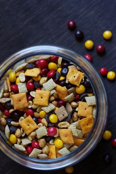This fall munch mix is a tailgating favorite. I like to fill small plastic cups with individual servings. It's an easy way to keep your guests snack happy.