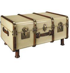 trunk coffee table - Finished in distressed antique ivory wood 1930s travel trunk
