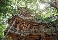 The world's largest treehouse is a 97-foot-high chapel in Crossville, Tennessee. Minister Horace Burgess began building in 1993; today, he continues to make improvements and repairs with salvage wood and repurposed materials. It's a popular place for Sunday services, weddings, and, swinging on an 80-foot tall tree.