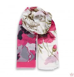 Hawaiian Fuxia Flower Scarf  Cotton & Silk. Luxury high quality made in Italy by Fulards.com free shipping.