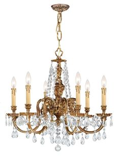 Crystorama Ornate Cast Brass Chandelier Accented with Clear Hand Cut Crystal 6 Lights - Olde Brass - 2806-OB-CL-SAQ