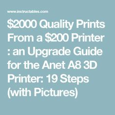 $2000 Quality Prints From a $200 Printer : an Upgrade Guide for the Anet A8 3D Printer: 19 Steps (with Pictures) 3d Printer Kit, 3d Printing, Prints, Pictures, 3d Printer, Printing, Impression 3d, Photos