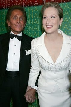 OCTOBER 2005 - Valentino was presented with the Superstar Award at the Fashion Group International's Night Of Stars by Meryl in 2005. She wore Valentino for the occasion and managed to convince the legendary designer to make a cameo appearance in The Devil Wears Prada.