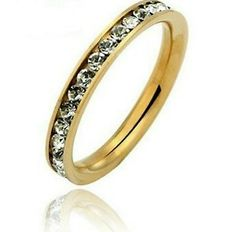3mm Deluxe GOLD Stainless Steel Eternity CZ Womens Wedding Band Ring & GIFT BOX