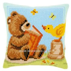 Buy Popcorn Reading Cushion Front Chunky Cross Stitch Kit Online at www.sewandso.co.uk