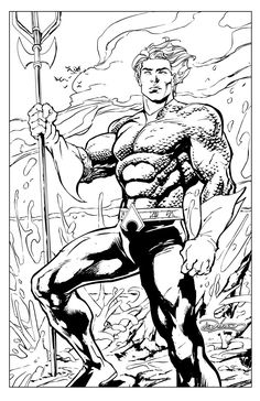 This was drawn and inked in Adobe Illustrator Here's a shot of Aquaman. AQUAMAN by Brian Denham Minion Coloring Pages, Superhero Coloring Pages, Spiderman Coloring, Marvel Coloring, Adult Coloring Book Pages, Coloring For Kids, Coloring Books, Coloring Sheets, Aquaman