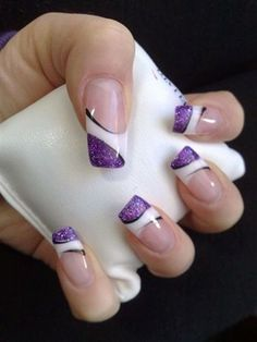 Purple black & white nail art design