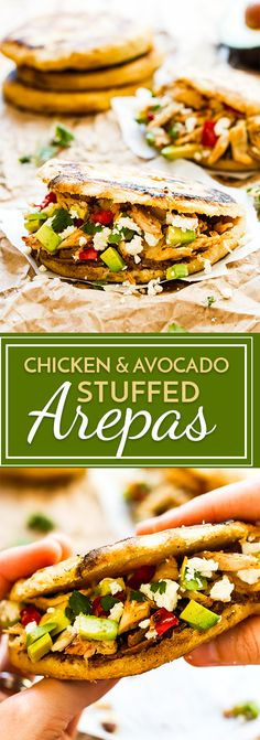 These Chicken & Avocado Stuffed Arepas are a wonderful gluten-free lunch or dinner alternative to your typical sandwich! Chefs, Avocado Recipes, Healthy Recipes, Mexican Food Recipes, Dinner Recipes, Meal Recipes, Free Recipes, Venezuelan Food, Venezuelan Recipes