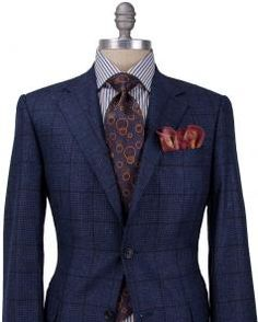 Image of Canali Navy Houndstooth with Windowpane Sportcoat