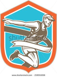 Illustration of a marathon runner running to the finish line tape set inside shield crest shape on isolated background done in retro style.
