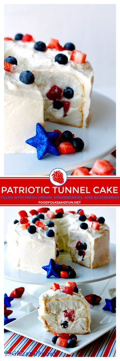 This Patriotic Tunnel Cake is a quick and easy dessert for Memorial Day of July Labor Day or anytime! It's filled with fresh whipped cream strawberries and blueberries! Easy Desserts, Delicious Desserts, Dessert Recipes, Patriotic Desserts, Healthy Cake Recipes, Baking Recipes, Healthy Snacks, Summer Recipes, Holiday Recipes