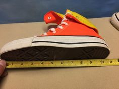 Vintage 80s 90s CONVERSE Orange Yellow Canvas High Top Sneakers Sz 6.5 USA MADE! in Clothing, Shoes & Accessories, Men's Shoes, Athletic | eBay