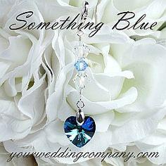 Something Blue Swarovski Heart Wedding Bouquet Charm - handmade keepsake charm made with a gorgeous 14mm Swarovski heart pendant in Bermuda Blue. www.yourweddingcompany.com