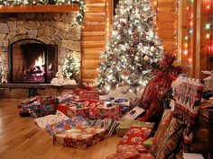 Image result for christmas morning lots of presents in old log cabin