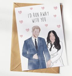With Meghan and Harry now taking a step down from their royal duties, it's time for us to have some fun with this hilarious 'I'd run away with you' greeting card. Have Some Fun, Running Away, Hilarious, Greeting Cards, Valentines, Etsy, Valentine's Day Diy, Valentines Day, Hilarious Stuff
