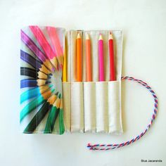 Rainbow Pencil Roll - Holds 12 Pencils / Crayons / Brushes / Pens / Hooks