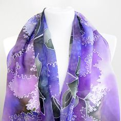 Purple scarf silk - LILAC scarves, hand painted with flowers in violet - foulard lightweight Purple Scarves, Silk Scarves, Lilac Bouquet, Shades Of Violet, Pastel Yellow, Silk Painting, Deep Purple, Hand Painted, Pure Products