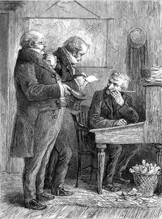 """November 29, This lunatic, in letting Scrooge's nephew out, had let two other people in. They were portly gentlemen, pleasant to behold, and now stood, with their hats off, in Scrooge's office. They had books and papers in their hands, and bowed to him. """"Scrooge and Marley's, I believe,"""" said one of the gentlemen, referring to his list. """"Have I the pleasure of addressing Mr. Scrooge, or Mr. Marley?""""  Charles Dickens, A Christmas Carol"""