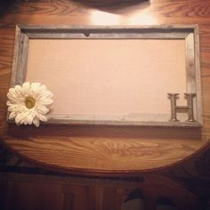 Barnwood frame with burlap canvas interior with letter and burlap flower for accents