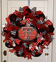Texas Tech (Red Raiders) Deco Mesh Wreath - Red, Black & White