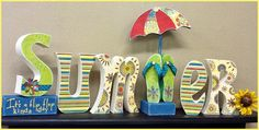 SUMMER Wood Letters with Flip Flops & Umbrella by JWDecor on Etsy