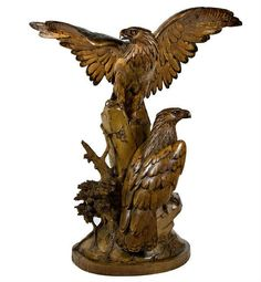 Rare Antique Black Forest Carved Pair of Golden Eagles Attributed to Ruef Brothers of Brienz, Switzerland