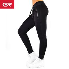 635a640dfe77 Black Stretchy Performance Zipper Pockets Gym Wear Elastic Band Women  Jogger Pants