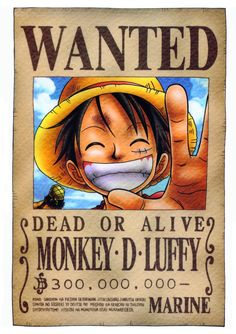 Luffy Wanted Poster One Piece Notebook One Piece Manga, Kaidou One Piece, Poster One Piece, Watch One Piece, One Piece Luffy, Otaku Anime, Manga Anime, Manga Girl, Anime Girls