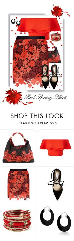 """""""Red Spring Skirt"""" by fernshadowstudio-com ❤ liked on Polyvore featuring Gucci, Miss Selfridge, Glamorous, Steve Madden, Amrita Singh and Bling Jewelry"""