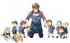 Papa Tanukioyaji. Lol #御幸一也 would make a good dad, he'd at least know how to teach his kids how to play baseball! #ダイヤのA / #daiyanoa
