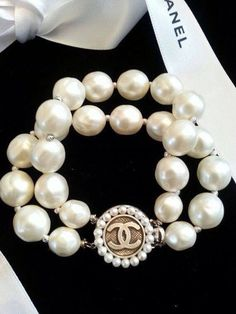 Authentic Chanel Button Pearl Bracelet Double Strand
