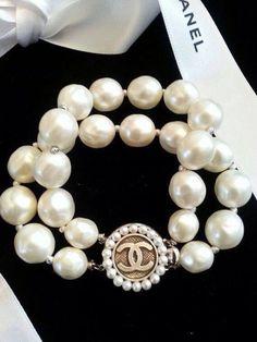 Authentic Chanel Button Pearl Bracelet Double Strand