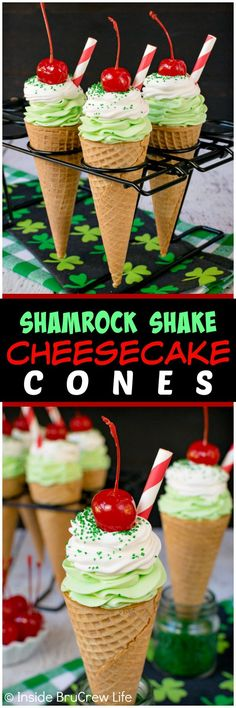 No Bake Shamrock Shake Cheesecake Cones - easy creamy mint cheesecake swirled in cones and topped with green sugar, cherries, and a straw makes these look like the popular drink. Easy no bake recipe to enjoy! Small Desserts, No Bake Desserts, Easy Desserts, Delicious Desserts, Dessert Recipes, Cold Desserts, Dessert Ideas, Cake Ideas, Oreo Dessert