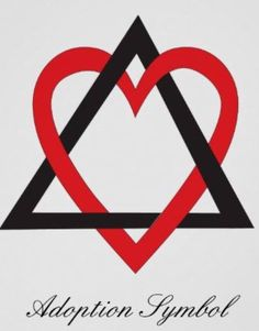 Adoption symbol tattoo. Colors can be changed. One side of the triangle is for the child, one side for the birth family and one side for the adoptive family and the heart is the love between them. I want it!