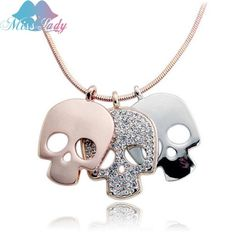 Miss Lady Rose Gold color Crystal Long Skull Skeleton Necklaces & Pendants Wholesales Fashion Jewelry for women 126Y4493