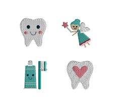 4 Mini Tooth Fairy Machine Embroidery Designs-INSTANT DOWNLOAD by SewChaCha on Etsy