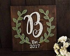 Monogram Laurel String Art/ Monogram Sign/ Wedding Gift/ Bridal Shower Gift/ Engagement Gift/ Newlywed Gift/ farmhouse decor/ Wedding Sign