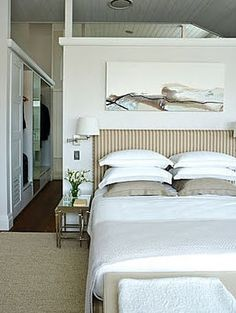 LOVE THIS MASTER SUITE LAYOUT: closet in pathway to bathroom behind bedroom