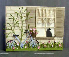 handmade card ... all die cuts and punches ... sweet scene ... with with panes, shutters, lace curtains, flowers and a cat on the sill ...blue bike with flowers in the basket ... and even more sweet details ... WOW!!! ,,, LUV IT!!!