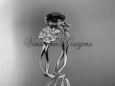14kt white gold diamond Cherry Blossom flower, Sakura engagement ring Black Diamond VD8019