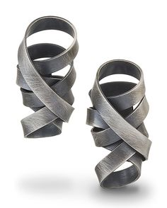 """Wrapped Ribbon Earrings"" Silver Earrings Created by Rina S. Young"