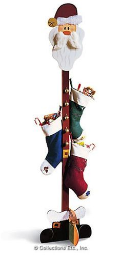 Santa Christmas Stocking Tree Hanger for those of us without fireplaces/mantels. Coming in Christmas Christmas Wood Crafts, Santa Christmas, Christmas Projects, Winter Christmas, Holiday Crafts, Christmas Stockings, Christmas Holidays, Christmas Ornaments, Christmas Ideas